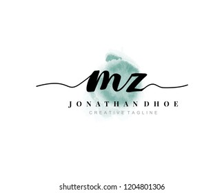 M Z MZ Initial watercolor logo on white background. Logo template vector