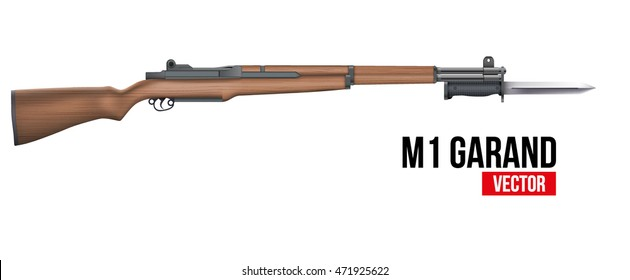 M1 Garand semi-automatic rifle with knife bayonet. Military Vector Illustration isolated on white background.