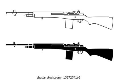 M14 rifle. American select-fire rifle.