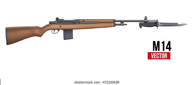 M14 rifle with knife bayonet. Military Vector Illustration isolated on white background.