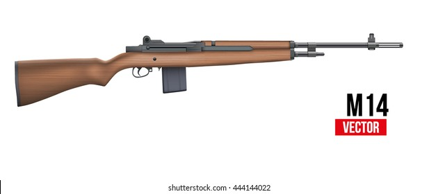 M14 rifle officially the United States selective fire automatic rifle for U.S. Army, Navy and Marine Corps basic. Military Vector Illustration isolated on white background.