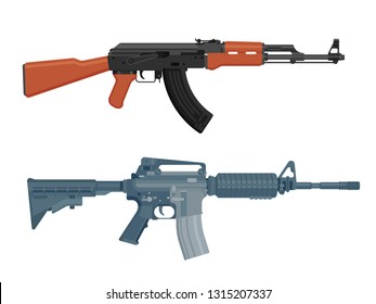 M16 assault rifle and AK 47 Kalashnikov machine gun isolated on white. Flat design. Vector illustration