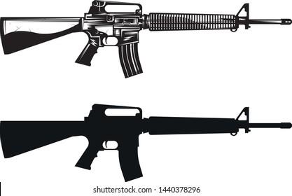 m16 assault rifle gun leathal weapon black and white vietnam rifle vector art