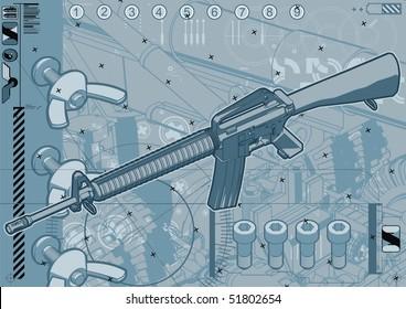 M16 assault rifle schematic design template.