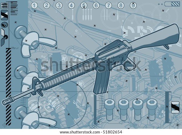 M16 ault Rifle Schematic Design Template Stock Vector (Royalty ... M Schematic on
