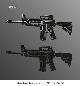 M-16 legendary assault rifle vector illustration. Classic armament icon. Tactical carbine image