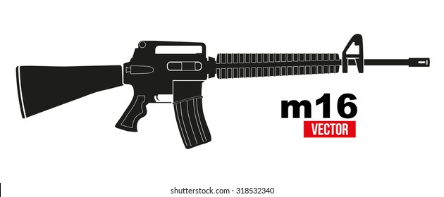 M16 rifle in flat silhouette style. Vector Illustration isolated on a white background