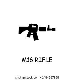 M16 rifle flat vector icon. Hand drawn style design illustrations.