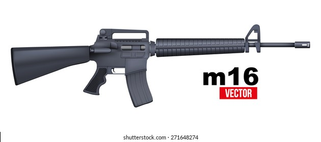 M16 rifle. Vector Illustration isolated on a white background