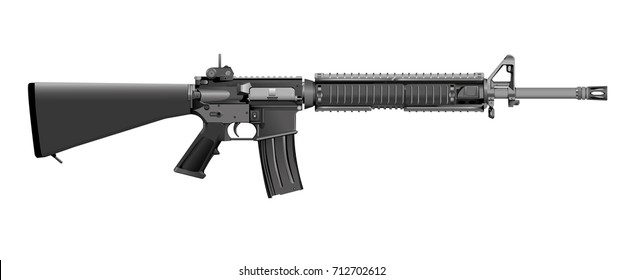 M16 rifle vector isolated on a white background.