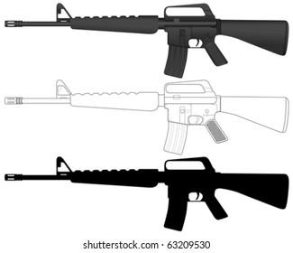 M16 set on a white background. Vector illustration.