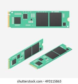 M.2 solid-state drive. Isometric vector illustration
