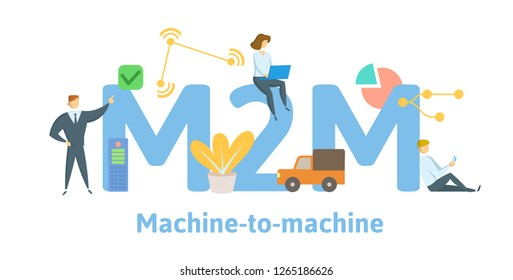 M2M, machine to machine. Concept with keywords, letters and icons. Colored flat vector illustration. Isolated on white background.