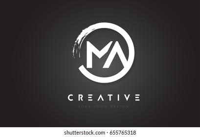 MA Circular Letter Logo with Circle Brush Design and Black Background.