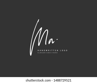 MA Initial handwriting or handwritten logo for identity. Logo with hand drawn style.