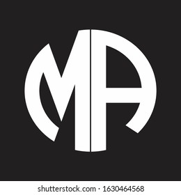 MA Initial Logo design Monogram Isolated on black and white