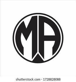 MA Logo monogram circle with piece ribbon style on white background