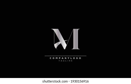 AM MA A AND M Abstract initial monogram letter alphabet logo design