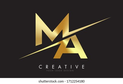 MA M A Golden Letter Logo Design with a Creative Cut. Creative logo design with Black Background.