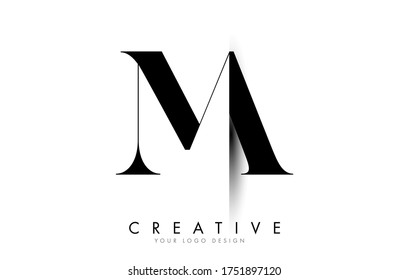 MA M A Letter Logo Design with Creative Shadow Cut Vector Illustration Design.