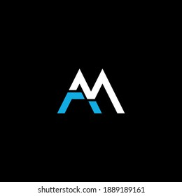 AM or MA abstract outstanding professional business awesome artistic branding company different colors illustration logo