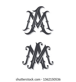 MA vintage monogram logo design illustration concept.
