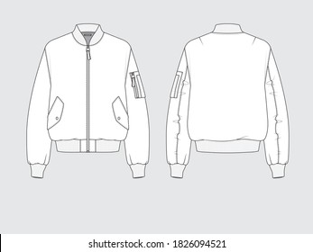 ma-1 flight bomber jacket, front and back, drawing flat sketches with vector illustration by sweettears