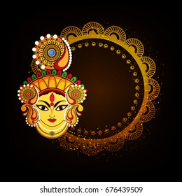 Maa Durga Charan design with Beautiful floral design and Kalash on shiny background for Hindu Festival Navratri.