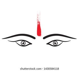 Maa durga eyes with tilak vector graphic design.