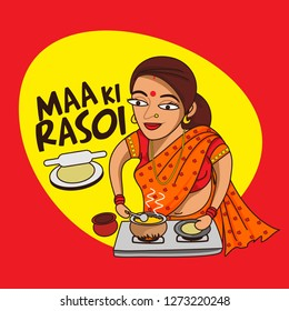 Maa ki rasoi . indian mother's kitchen cartoon character