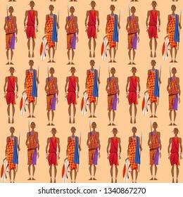 Maasai warriors perform traditional jumping Dance. Seamless background pattern. Vector illustration.
