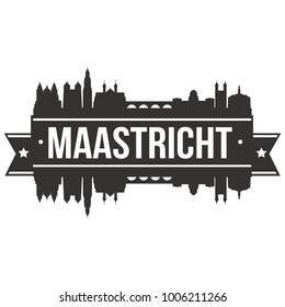 Maastricht Netherlands Europe Skyline Silhouette Design City Vector Art Famous Buildings Stamp