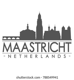 Maastricht Netherlands Europe Skyline Silhouette Design City Vector Art Famous Buildings