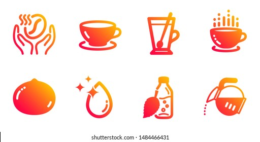Macadamia nut, Water drop and Tea mug line icons set. Coffee, Water bottle and Coffee cup signs. Espresso symbol. Vegetarian food, Crystal aqua. Food and drink set. Vector