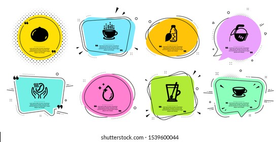 Macadamia nut, Water drop and Tea mug line icons set. Chat bubbles with quotes. Coffee, Water bottle and Coffee cup signs. Espresso symbol. Vegetarian food, Crystal aqua. Food and drink set. Vector