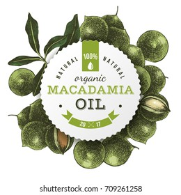 Macadamia oil round label with type design over hand drawn nuts background. Vector illustration