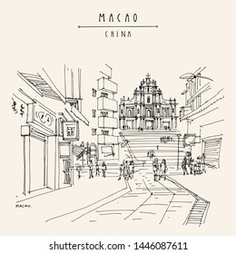 Macao (Macau), China, Asia. View of the ruins of St. Paul's Cathedral and people in the walking street. Shopping area. Travel sketch. Artistic drawing. Vintage hand drawn postcard. Vector illustration
