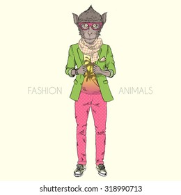 macaque monkey dressed up in cool urban style, hipster animal, furry art illustration