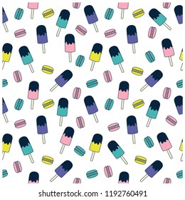 Macaron and ice cream seamless pattern.Macaron, ice cream drawing.Cute repeat pattern for kids.Vector illustration design for fashion fabrics, textile graphics, prints, wallpapers and other uses.