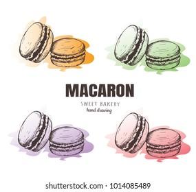 Macaron, macaroon, Macaron sketch set. Macaroon sweet bakery vector illustration.