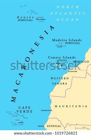 Macaronesia Political Map Azores Cape Verde Stock Vector Royalty