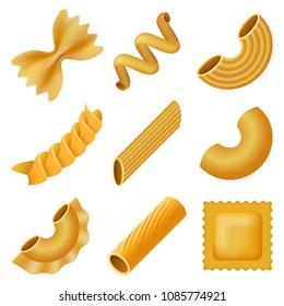 Macaroni pasta spaghetti mockup set. Realistic illustration of 9 macaroni pasta spaghetti mockups for web