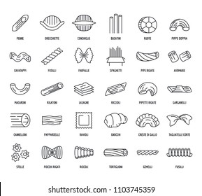 Macaroni pasta spaghetti noodles icons set. Outline illustration of 30 macaroni pasta spaghetti noodles vector icons for web