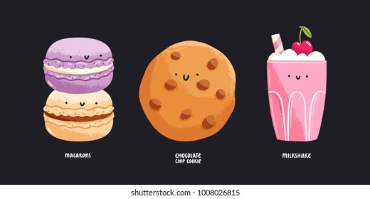 Macarons, chocolate chip cookie and milkshake isolated vector illustrations