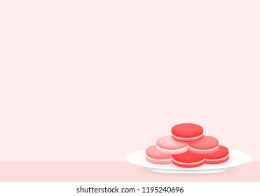 Macarons on white plate, light pink color in the background. Vector eps 10.