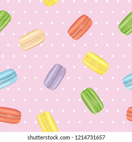 Macarons seamless pattern. vector illustration