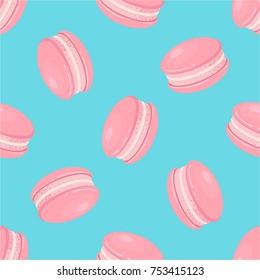 Macaroon, macaron, pink french cake, dessert vector illustration. Sweet seamless pattern.