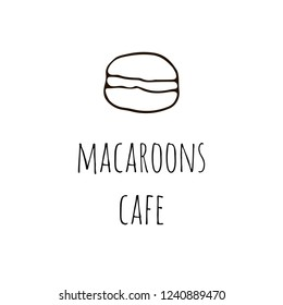 Macaroons cafe logo with macaroon in hand drawn style. Vector illustration