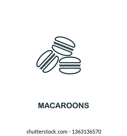 Macaroons icon. Thin line symbol design from coffe shop icon collection. UI and UX. Creative simple macaroons icon for web and mobile.