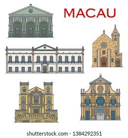 Macau architecture and famous Portuguese heritage landmark buildings. Macao Penha Chapel, Saint Lawrence and St Dominic church, Dom Pedro Theater and Leal Senado senate building vector icons